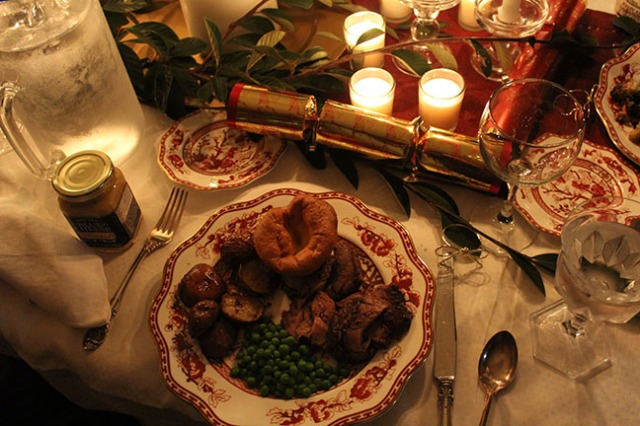 Traditional English Christmas Dinner.A Fancy Table And A More Or Less Traditional English